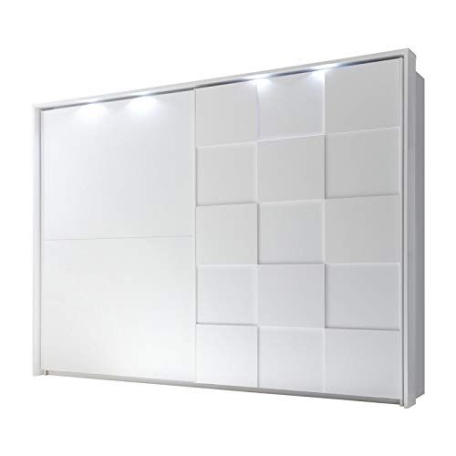 Tousmesmeubles Armoire 2 Portes coulissantes 275 cm Blanc Mat à LEDs - TICATO - L 285 x l 64 x H 210 - Neuf