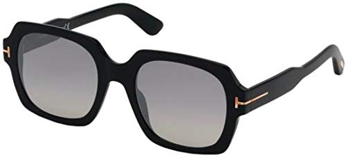 Tom Ford FT0660 01C Shiny Black Autumn Square Sunglasses Lens Category 2 Lens Mirrored Size 53mm