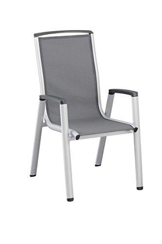 Kettler Fauteuil empilable Vista 0103802–0000 Chaise empilable Argenté/anthracite Aluminium/tissu d'extérieur L/L/H env. 70/59/104 cm