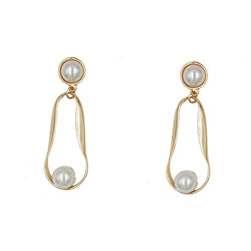 Da.Wa 1 Paar Gold Temperament Perle Ohrringe Einfache Wilde Trend Mode Geometrie Ohrringe Retro Große Kunst Ohr Zubehör -