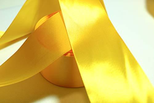 CaPiSo® 22m Satinband 50mm Breite Schleifenband Geschenkband Dekoband Weihnachten Hochzeit (Gelb, 22m)