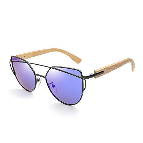 Gläser Mode Sonnenbrillen Bambus Sonnenbrillen Bambus Bein Klassische Vintage Sonnenbrille für männer und Frauen (Color : Blau, Size : Kostenlos)
