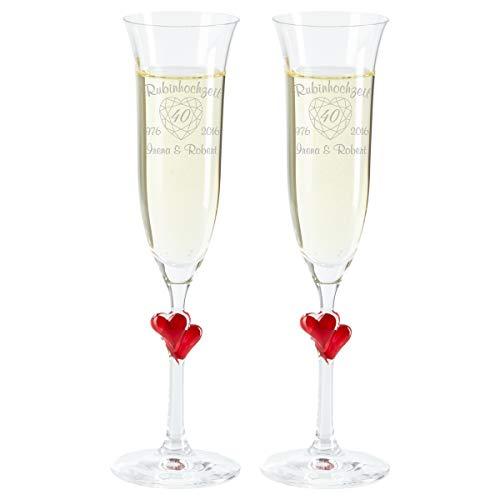 Sektglas – Rubinhochzeit (rote Herzen, 2 Sektgläser): graviertes Sektglas mit Herzchen im Stiel – einzeln oder als Zweier-Set – personalisiert mit Zwei Jahreszahlen und Namen