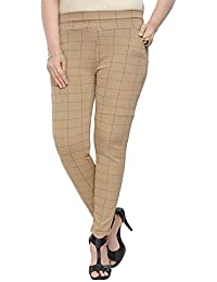 2245f09d1958bb Vandana Indigo Comfortable Check Pattern Jeggings and Casual Pant for Women /Girls
