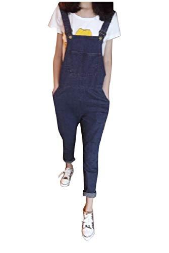 CuteRose Womens Jeans Overalls Denim Fit Casual Comfy Chic Bibs Jumpsuits Dark Blue XS