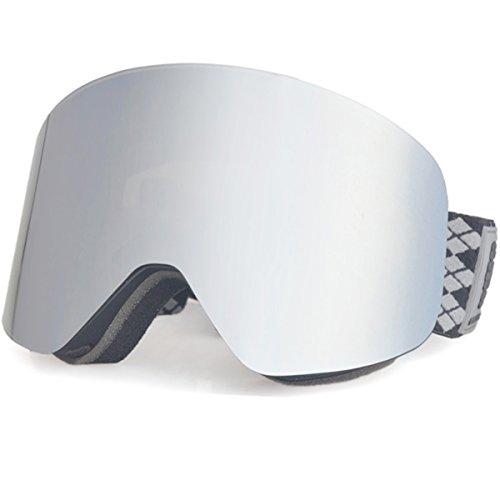 Skibrille Herren- Frameless, Wechselnd Double Layer Zylindrische Linse mit Anti-Kratzer und Anti-Nebel, Ski / Snowboard-Goggles für Männer-100% Anti-UV