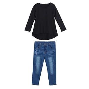 TENDYCOCO niño niños niñas Traje Ropa Negro Manga Larga Camiseta Tops + Pantalones Vaqueros (para niños de 6-7 años) 5