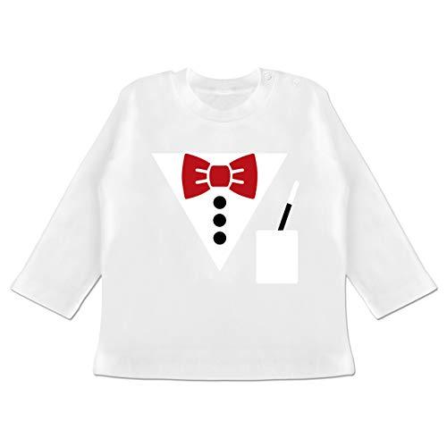 Karneval und Fasching Baby - Magier Kostüm - 6-12 Monate - Weiß - BZ11 - Baby T-Shirt Langarm