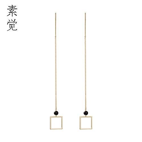 BAGEHAN Design Manual 925 Silber Temperament lange Ohr Linie Ohrringe Ohrringe aus echtem Gold Quadrat Vergoldete Ohr Draht (Silber Draht Square)