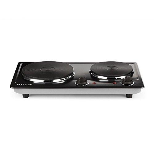 Klarstein Cookomaniac - Plaque de cuisson, 2500 watts de puissance totale, 2 plaques, Jusqu'à 320°C, Acier inoxydable, 2 x thermostat, Voyant lumineux, Pieds antidérapants, compact, noir mat