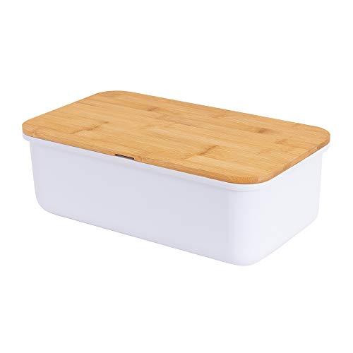 Geräumige Brotkasten aus Melamin mit Bambusdeckel als Schneiderbrett Maße 37,5 x21x13cm in Farbe weiß