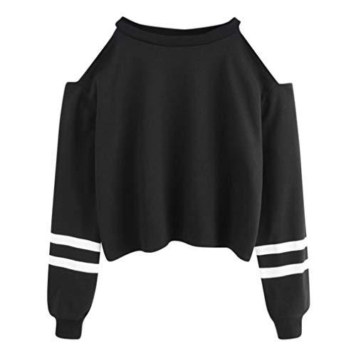 Langärmlige Ärmel Kurzer Pullover-Weisefrauen-Buchstabe-Druck-Lange Hülsen-Hoodie-Sweatshirt-zufällige Oberseiten-Bluse Kurzer Pullover für Damen-Jumper Pullover Oberteile (Schwarz,M)