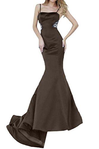 Lunga da donna con spalline strette Ivydressing Mermaid un'ampia Bete dell'abito polsini Satin vestimento Cioccolato