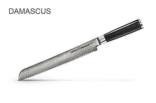 """Samura DAMASCUS - Brotmesser 9""""/ 230 mm. 67 Lagen. VG -10 Stahlkern, G-10"""