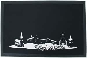 Heimatshop Franken Fußmatte Skyline Kulmbach | waschbar bei 30⁰ | 60 x 40 cm | weiß-schwarz