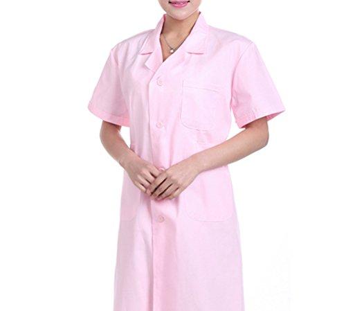 Nanxson(TM) Damen Herren Laborkittel Kittel kurzarm Medizin Arztkittel Labormantel Mantel CF9006 (L, Damen Rosa)