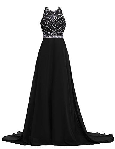 Dresstells Rückenfrei Maxi Promi-Kleider Chiffon Ärmellose Abendkleider Schwarz