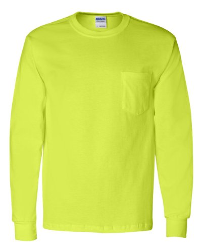 Gildan Ultra Cotton Long Sleeve T-Shirt with a Pocket, Safety Green -