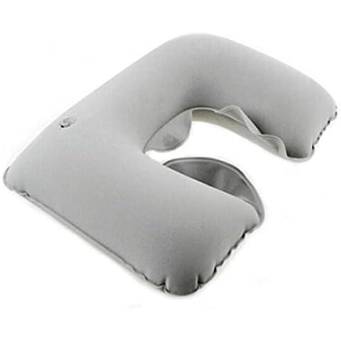Liroyal Gray inflable Almohada de vuelo Viaje En Forma De U Cuello Resto Cojín de aire compacto