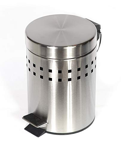 Eleganter Badeimer aus mattem Edelstahl - 3 Liter Abfallbehälter - Abfalleimer mit Tretfunktion