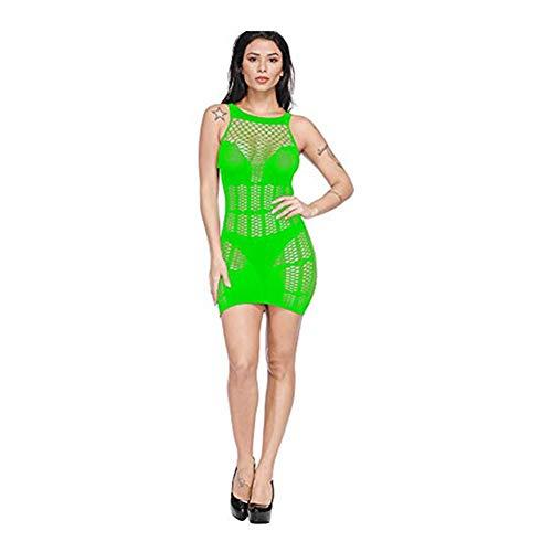 SUCES Damen Sexy Kleid, Transparent Mesh Dessous Perspective Charmant Underwear Frauen Erotik Babydoll Reizwäsche (Grün,one size) (Grüner Mann Kostüm Origin)