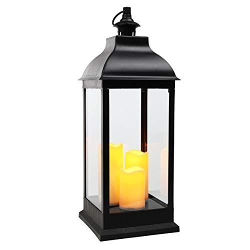 XXL Laterne mit 3 LED Kerzen - Deko Laterne 70 cm mit Flackerlicht - schwarz/Batterie betrieben
