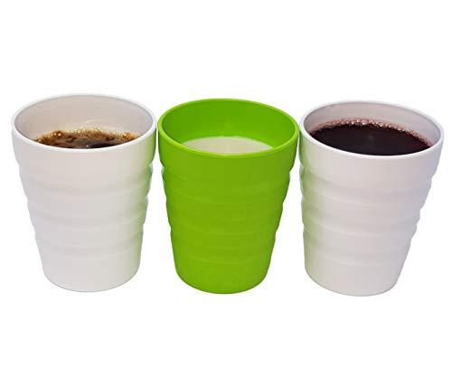 e Trinkbecher hergestellt aus Natürlichem Bio-Kunststoff aus Zuckerrohr Stapelbar Robust Bruchsicher BPA-frei Spülmaschinenfest Mikrowellengeeignet ()