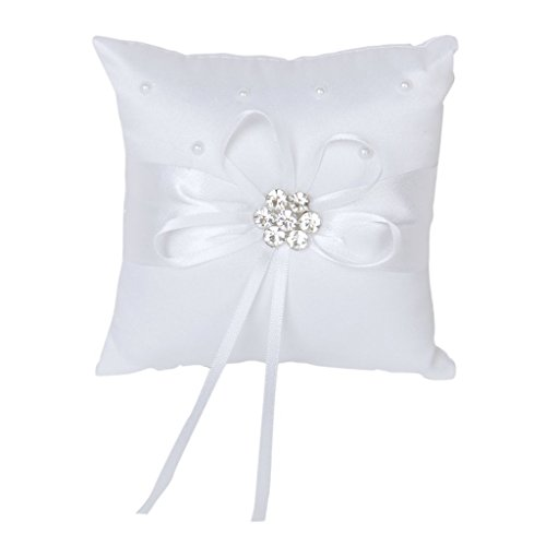 Satin Rhinestone Flower Beaded Wedding Ring Pillow Cushion Bearer 10 x 10cm---White