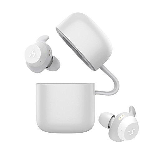 HAVIT Bluetooth Kabellose Kopfhörer in Ear V5.0, Sport Ohrhörer, IPX5 Wasserdicht, 18 Stunden Abspielzeit, Aufbewahrungsbox mit Ladefunktion,Eingebautes Mikrofon für ios,Samsung und Huawei, HTC Bluetooth-headset, White Box