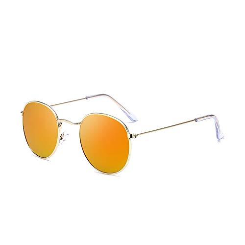SUNGLASSES Sonnenbrillen Trend Star mit dem gleichen Absatz Sonnenbrille Männer und Frauen runden Gesicht Retro Sonnenbrille Spiegel (Farbe : Orange Slices)