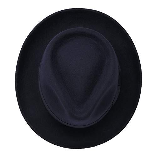 B S Premium Doyle- Cappello a Goccia Fedora-100% Feltro di Lana- Ripiegabile  in Viaggio- Impermeabile- Blu scuro 56cm. Visualizza le immagini 536014727e15