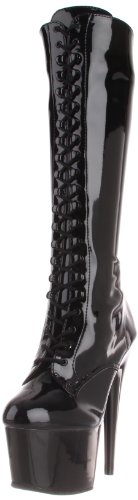 Pleaser - Pleaser Adore-2023, Stivali a metà polpaccio con imbottitura leggera Donna Blk Str Faux Leather/Blk Matte