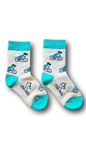 Little Socks Kinder Socken witziges Design Dino auf Fahrrad – perfektes Geschenk – Gr. 25-33