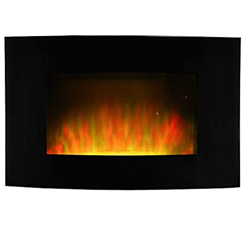 Wall Mounted Electric Fireplace Heater Black Curved Tempered Glass White Pebbles LED 1800W Adjustable Flame Effect & Heat with Remote Control