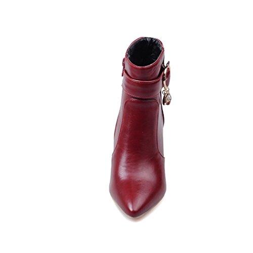 ZQ@QXSuggerimento della settimana per il sottile ed elegante fibbia della cintura di sicurezza lato acqua di cerniera lampo del trapano, bare Stivali Stivali corto Red