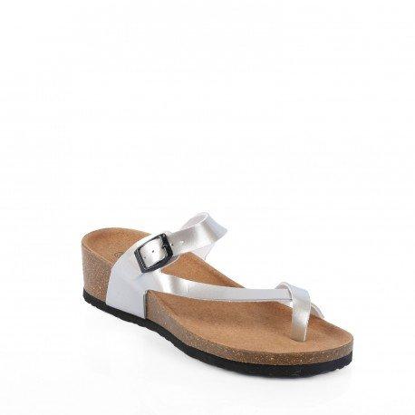 Ideal Shoes - Nu-pieds style orthopédique Kahina Argent