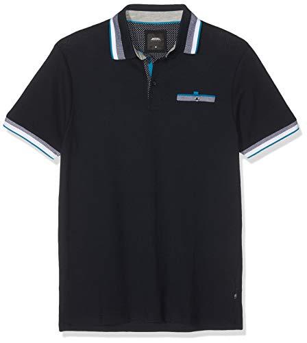 Burton Menswear London Herren Tipped Grid Popcorn Polo Shirt Poloshirt, Blau (Navy 100), XXL -