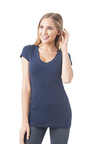 Hollywood Star Fashion camiseta de manga corta cuello en V Tee camiseta de tirantes para mujer algodón Azul azul marino Medium