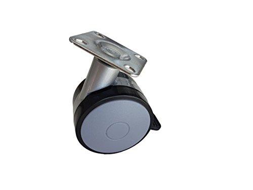 (Packung mit 4 Stück) Doppelrollen aus Kunststoff mit Bremse, schwenkbar, 60 mm, mit Metallplatte, Möbel-, Geräte-, Laufrollen, Mini-Rollen,