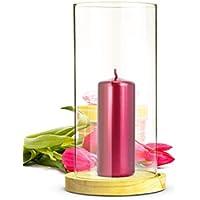 Sendez Wind Luz Cristal Cilindro con Madera Plato portavelas de Mesa Decorativo Candelabro Farol