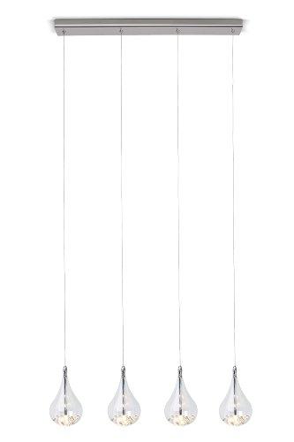Brilliant G14772/15 - Lampadario a sospensione Maira a 4 punti luce, con sfere in vetro (Chrome Quattro Punti)