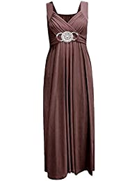 Frauen plus size Schnalle Taille binden zurück Abend lange Maxi-Kleid