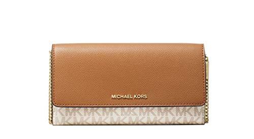 Michael Kors Large Logo and Leather Convertible Chain Wallet Crossbody Vanilla / Acorn