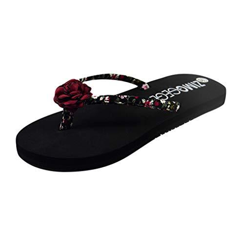 LILIHOT Damenmode Hausschuhe Blumenkeile Rutschfeste Flache Ferse Flip-Flops Hausschuhe Schuhe Damen Sommer Schuhe Blumen Slippers Komfort Sandalen mit rutschfest Weiche Sohle -