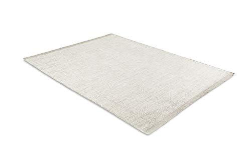 LIFA LIVING Handangefertigter Wollteppich im Vintagestil, 70% Wolle und 30% Baumwolle 140 x 200cm (Kamel/Weiß) -