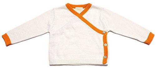Viddia 100% Bio Baumwolle, Zertifiziert GOTS, Baby und Kleinkind Asymmetrische Wrap Cardigan Gr. 3-6 Monate, Natural Cream and Orange -