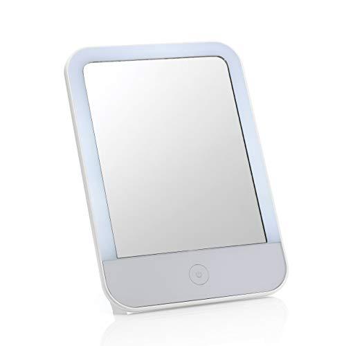 Auraglow Espejo de Tocador de Maquillaje y Afeitado con Luz LED Recargable por USB,...