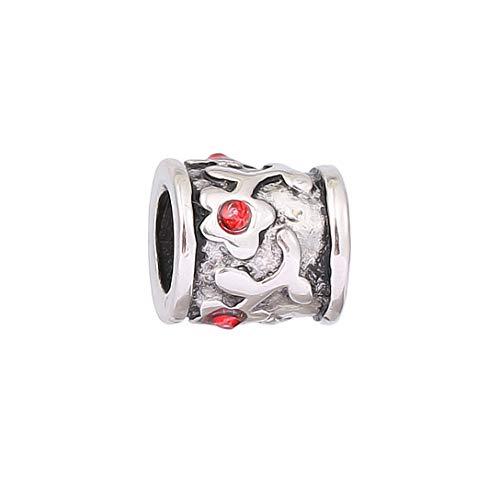 AKKi jewelry Charms Beads Blume Rot Anhänger Edelstahl Angebot Perle für bettel-Armband Bead Charm Silber Original Chrystal Strass kompatibel mit Pandora Style