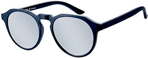 La Optica B.L.M. UV400 CAT 3 Unisex Damen Herren Sonnenbrille Rund Modern - Einzelpack Matt Schwarz (Gläser: Silber verspiegelt)