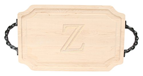 BigWood Boards 320-LTWS-Z Carving Board with Large Twisted Square End Handle with Scalloped Corners, 15-Inch by 24-Inch by 1.25-Inch, Monogrammed